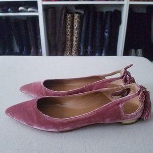 AQUAZZURA Pink Velvet Forever Marilyn Tassel Flats